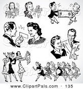 Pal Clipart of a Digital Set of Retro Black and White Men and Women Shopping by BestVector