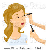 Pal Clipart of a Dirty Blond Caucasian Woman Getting Eyeliner Applied by BNP Design Studio