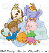Pal Clipart of a Dog, Elephant, Monkey, Pig and Cat Having Fun and Cuddling at a Slumber Party by BNP Design Studio