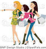 Pal Clipart of a Fashionable Young Window Shopping Women Looking and Pointing by BNP Design Studio