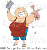 Pal Clipart of a Fat Hairy Butcher Man Holding a Knife and a Plucked Chicken by BNP Design Studio