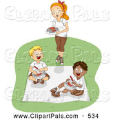 Pal Clipart of a Female Camp Counselor Serving Food to Boys by BNP Design Studio