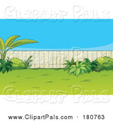 Pal Clipart of a Fenced Back Yard with Plants by Graphics RF