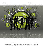 May 19th, 2013: Pal Clipart of a Five Black Silhouetted Dancers over a Grungy Green and Gray Swirling Background by KJ Pargeter