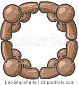 Pal Clipart of a Four Brown People Standing in a Circle and Grasping Hands for Teamwork and Unity by Leo Blanchette