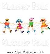 Pal Clipart of a Four Happy Kids Holding Hands and Dancing in a Line by Prawny
