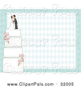 Pal Clipart of a Four Teired Wedding Cake Decorated with Roses over a Diamond Background by Maria Bell