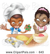 Pal Clipart of a Friendly Black Boy and Girl Making Cookies Together by AtStockIllustration