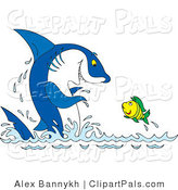 Pal Clipart of a Friendly Blue Shark Clapping at a Fish That Is Leaping out of Water by Alex Bannykh