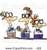 Pal Clipart of a Friendly Cartoon Group of Nerds Talking by Toonaday