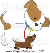 Pal Clipart of a Friendly Cute Puppy Walking Alongside a Smaller Dog by Maria Bell
