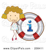 Pal Clipart of a Giggling Blond White Girl by an I Info Life Buoy Icon by Graphics RF