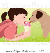 Pal Clipart of a Girl and Her Puppy Sharing an Ice Cream Cone by Mayawizard101