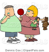Pal Clipart of a Girl Watching a Gross Boy Pick His Nose with His Pointer Finger by Djart