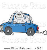 Pal Clipart of a Gray Bulldog Waving and Driving a Blue Car by Toons4Biz