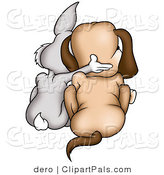 Pal Clipart of a Gray Rabbit and Dog Cuddling Together, As Seen from Behind by Dero