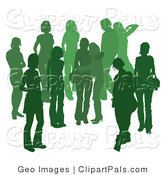 Pal Clipart of a Green Group of Silhouetted People Hanging out in a Crowd, Two Girl Friends Embracing in the Middle by AtStockIllustration