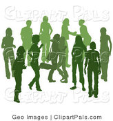 Pal Clipart of a Green Group of Silhouetted People Hanging out in a Party Crowd, Two Friends Hugging by AtStockIllustration