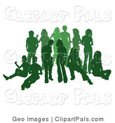 Pal Clipart of a Green Group of Silhouetted People Hanging out Together by AtStockIllustration