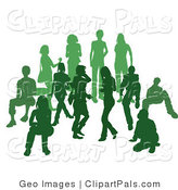 Pal Clipart of a Green Group of Silhouetted People Standing Together in a Crowd by AtStockIllustration