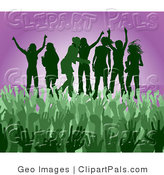 Pal Clipart of a Green Group of Silhouetted Women Raising Their Arms and Partying on Stage at a Concert by AtStockIllustration