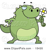 Pal Clipart of a Green Lizard Smelling a Flower by Cory Thoman