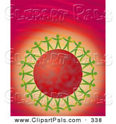 Pal Clipart of a Green Paper People Surrounding a Red Planet and Holding Hands on a Binary Background by Prawny
