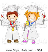 Pal Clipart of a Grinning Graduating Boy and Girl in White Caps and Gowns by BNP Design Studio