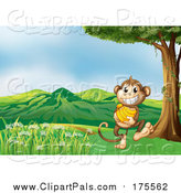 Pal Clipart of a Grinning Monkey Carrying Bananas by Graphics RF