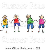 August 2nd, 2013: Pal Clipart of a Group of 4 Happy Boys Holding Hands by Prawny