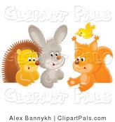 Pal Clipart of a Group of Animals, a Yellow Bird Flying over a Squirrel, Rabbit and Hedgehog Chatting at a Table by Alex Bannykh