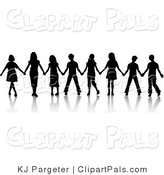 Pal Clipart of a Group of Black Silhouetted Boys and Girls Standing in a Line and Holding Hands While Playing the Game Red Rover by KJ Pargeter