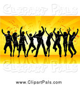 Pal Clipart of a Group of Black Silhouetted Dancers Against Orange Rays and Music Notes by KJ Pargeter