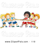 Pal Clipart of a Group of Diverse Children Playing Tug of War with a Rope on White by BNP Design Studio