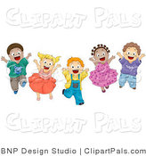 Pal Clipart of a Group of Energetic Diverse Kids Jumping for Joy by BNP Design Studio