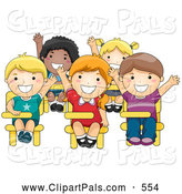 Pal Clipart of a Group of Five Diverse School Kids Raising Their Hands in Class by BNP Design Studio