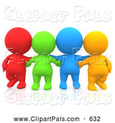 Pal Clipart of a Group of Four 3d Teeny People Friends Facing Front by