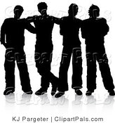 Pal Clipart of a Group of Four Men Standing Together, Silhouetted over White by KJ Pargeter