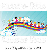 Pal Clipart of a Group of Happy Diverse Children Waving and Holding Hands on a Rainbow by