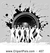 Pal Clipart of a Group of Silhouetted Dancers Against Gray Grunge and Music Speakers by KJ Pargeter