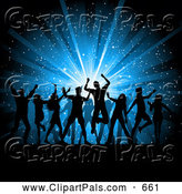 October 7th, 2013: Pal Clipart of a Group of Silhouetted Dancing People over a Blue Star Burst Christmas Background by KJ Pargeter