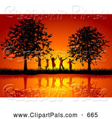 Pal Clipart of a Group of Silhouetted Happy Children Against a Pretty Orange Sunset, Between Trees on a Waterfront by KJ Pargeter