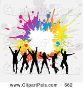 Pal Clipart of a Group of Silhouetted Jumping Adults Against a Gray Background with Colorful Splatters by KJ Pargeter