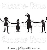Pal Clipart of a Group of Silhouetted Kids Holding Hands in a Line by Prawny