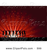 Pal Clipart of a Group of Silhouetted Young People Dancing over a Red Starry Burst Background on Reflective Black by KJ Pargeter