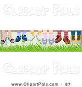 Pal Clipart of a Group of Six Pairs of Children's Feet Hanging down over Grass by BNP Design Studio