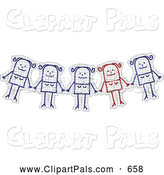 Pal Clipart of a Group of Stick Figure Cutouts by NL Shop