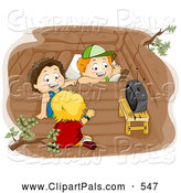 Pal Clipart of a Group of Three Boys Watching Tv in a Tree House by BNP Design Studio