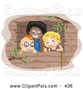 Pal Clipart of a Group of Three Boys Waving from a Window in a Tree House by BNP Design Studio