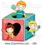 July 1st, 2013: Pal Clipart of a Group of Three Kids Playing in a Shape Box by BNP Design Studio